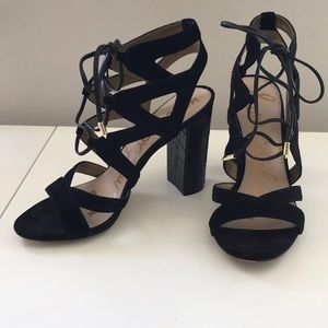Sam Edelman Black lace up heels Size 8 1/2